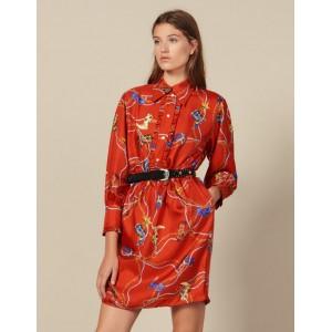 Short Printed Silk Twill Dress