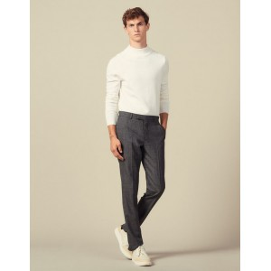 Marled Wool Suit Trousers