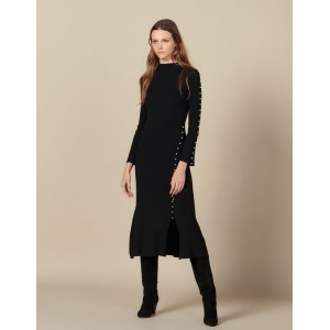 Long Knit Dress Trimmed With Beads