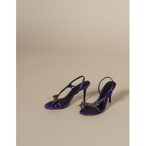 Satin Sandals With Rhinestone Bow
