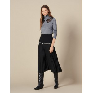 Long Pleated Wrapover Skirt