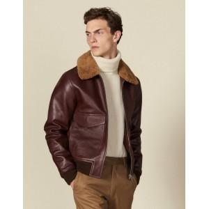 Leather aviator jacket with sheepskin