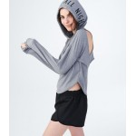 LLD All Day All Night Cutout-Back Pullover Hoodie