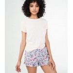 LLD Fuzzy Floral Sleep Shorts