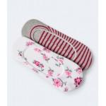 2-Pack Floral & Stripe No-Show Socks