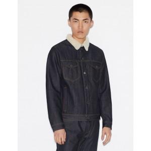 Armani Exchange DENIM JACKET WITH TEDDY FLEECE COLLAR, Denim Jacket for Men | A|X Online Store