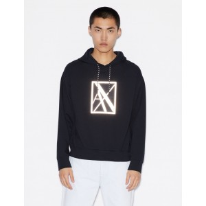 Armani Exchange HOODIE WITH REFLECTIVE AX LOGO, Hoodie for Men | A|X Online Store