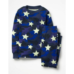 Glow-In-The-Dark Pajamas - School Navy Camouflage Star