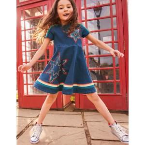 Jersey Denim Skater Dress - Mid Vintage