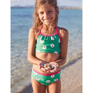 Patterned Bikini Bottoms - Summer Green Daisy Dots