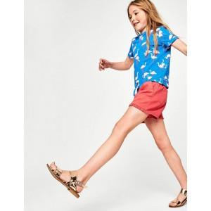 Tie-Front T-Shirt - Blue Flamingos