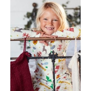 Cosy All-In-One Pyjamas - Ivory Festive Fun