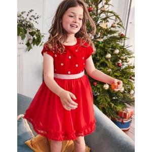 Velvet Applique Dress - Polish Red Sequin Spot