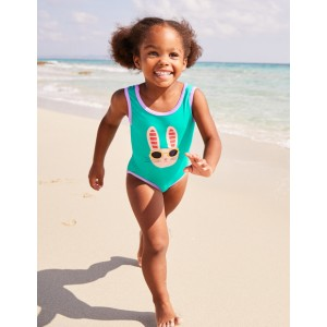 Applique Swimsuit - Jungle Green Bunny