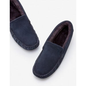 Moccasin Slippers - Navy