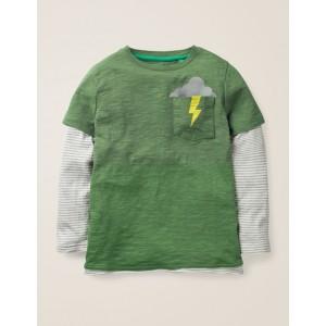 Layered Graphic Pocket T-Shirt - Rosemary Green