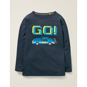 Embroidered Graphic T-Shirt - Stormy Blue Race Car