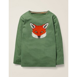 Embroidered Graphic T-Shirt - Rosemary Green Fox