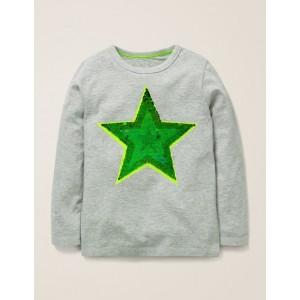 Sequin Colour Change T-Shirt - Grey Marl Star