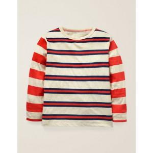 Hotchpotch Stripe T-Shirt - Oatmeal Marl/College Blue
