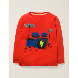Music Applique T-Shirt - Rocket Red Drum Kit