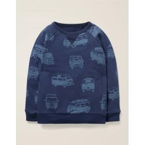 Fun Printed Sweatshirt - College Blue Campervans