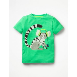 Applique Animal Dude T-Shirt - Parrot Green Marmoset