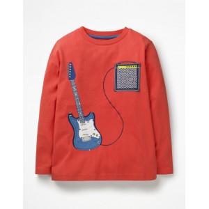 Music Applique T-Shirt - Beam Red Guitar
