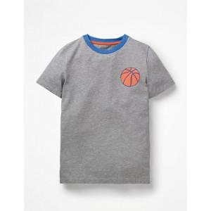 Printed Sports T-Shirt - Grey Marl Basketball