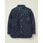 Embroidered Dinosaur Shirt - Dark Denim
