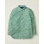 Laundered Printed Shirt - Linden Green Car Chase