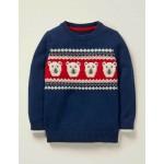 Festive Fair Isle Sweater - College Blue Polarbears