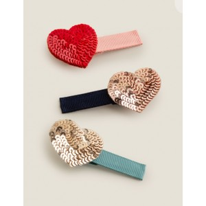 3 Pack Hair Clips - Multi Hearts