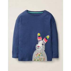 Big Applique T-Shirt - College Blue Rabbit