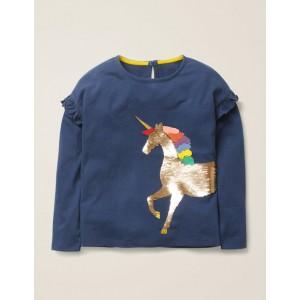 Colour-Change Sequin T-Shirt - College Blue Unicorn