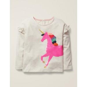 Colour-Change Sequin T-Shirt - Oatmeal Unicorn