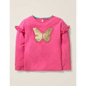 Colour-Change Sequin T-Shirt - Pink Sorbet Butterfly