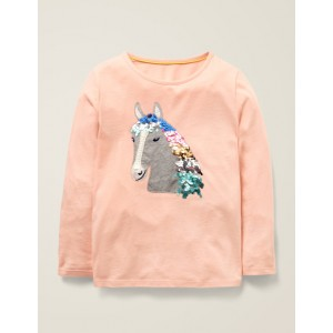 Sequin Animal T-Shirt - Provence Dusty Pink Horse