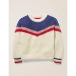 Chevron Stripe Sweater - Ecru Marl