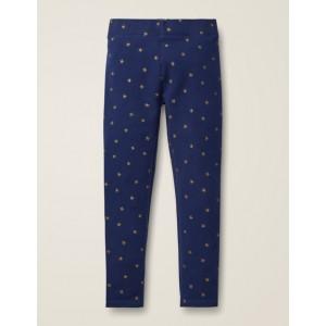 Fun Cosy Leggings - College Blue Gold Stars