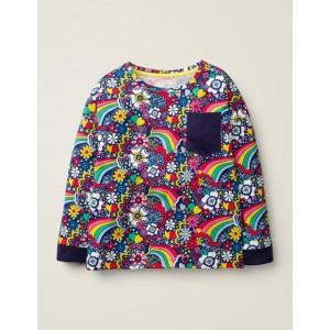 Printed Pocket T-Shirt - College Blue Sixties Rainbow
