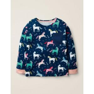 Printed Pocket T-Shirt - College Blue Unicorns