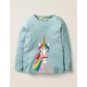 Unicorn Applique T-Shirt - Mineral Blue