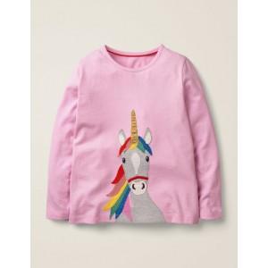 Unicorn Applique T-Shirt - Parasol Pink