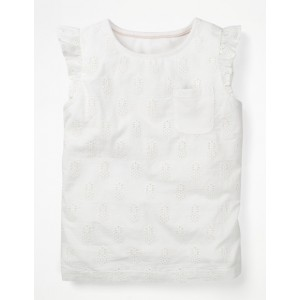 Pretty Broderie Top - White Pineapple