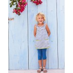 Frill Jersey Tunic - White/Blue Wave