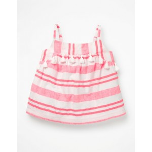 Strappy Tassel Detail Top - Fluoro Pink Stripe