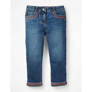 Embroidered Hem Capri Trousers - Mid Vintage Denim