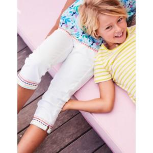 Embroidered Hem Capri Trousers - White
