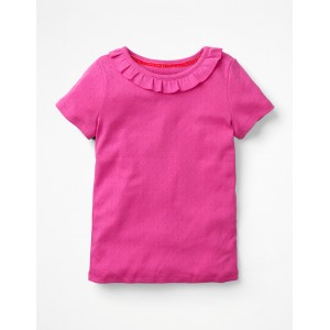 Ruffle Neck Pointelle T-Shirt - Tickled Pink
